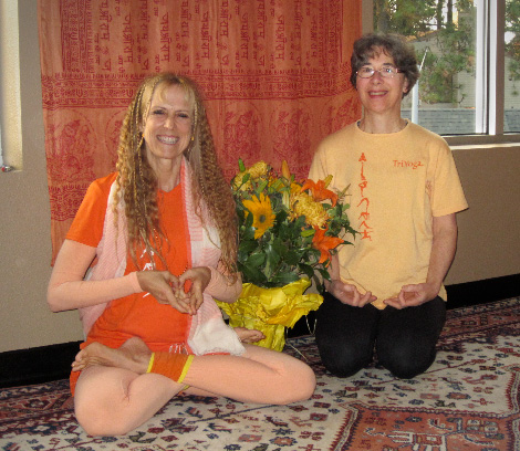 Latika with Yogini Kaliji during Kaliji's programs in Portland Nov 9-11, 2012